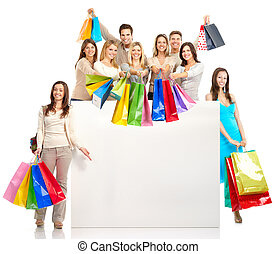 Shopping people - Happy shopping people Isolated over white...