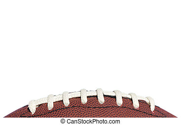 Close-up of American Football Laces Isolated on a White...