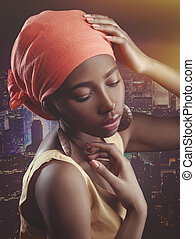 African woman, female portrait with saved skin texture