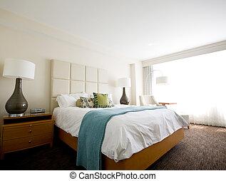 doble, Cama, moderno, interior, habitación