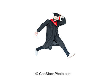 young student in graduation cap with diploma jumping...