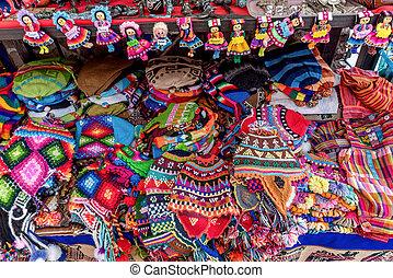 Peruvian traditional wares for sale in Pisac, Peru