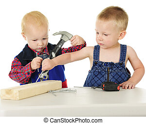 You Doing My Project? - Two adorable toddler boys standing...