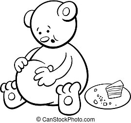 bear cartoon coloring book - Black and White Cartoon...