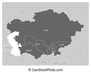 Map of Central Asia region with highlighted Kazakhstan,...