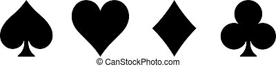 Poker card suits - hearts, clubs, spades and diamonds - on white background. Casino gambling theme vector illustration. Simple black silhouettes