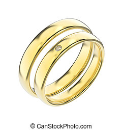 3D illustration two classic yellow gold rings with diamond on a white background