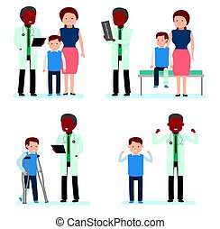 Caring for the health of the child. Set of pediatrician and the mother with son on a white background.