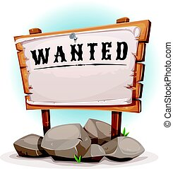Cartoon Wood Sign With Wanted On Torn Paper