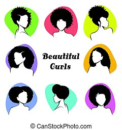 Set of stylized women's busts with curly hair