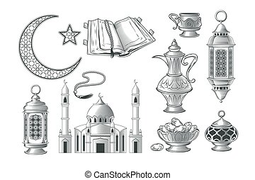 Set of vector muslim illustrations, icons for prayer and...
