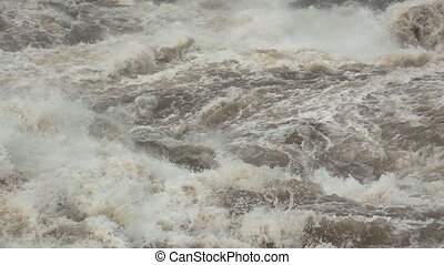 Super slow motion shot of water rapids - Closeup Super slow...
