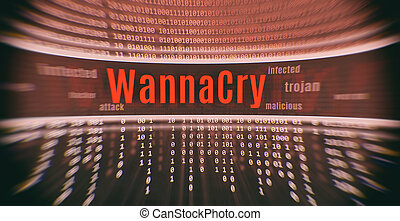 Ransomware attack WannaCry. Cyber attack. Internet security...