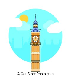 Big ben tower in London. Vector Illustration