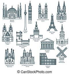 Set of attractions of europe