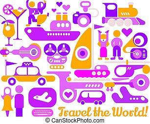 Travel the World vector poster design
