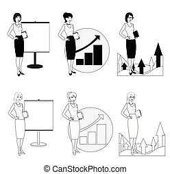 Set of illustrations of a businesswoman in a black-white version.