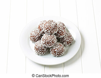 Chocolate coconut balls - No-bake chocolate balls rolled in...
