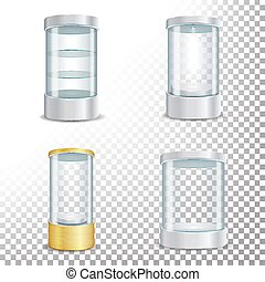 Round Empty Glass Showcase Podium Set With Spotlight And Sparks. Blank For Exhibit With A Pedestal. Isolated Realistic Empty Glass Showcase. Vector Illustration. Transparent Background