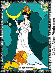 the priestess card - the illustration - card for tarot - the...