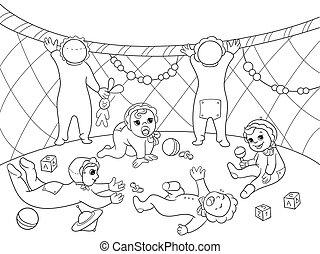 Kindergarten coloring book for children cartoon vector...