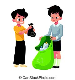 Kids, boys collect plastic bottles into garbage bag, waste recycling