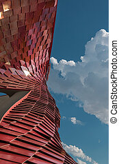 Detail of Futuristic Megastructure: Curve Red Building...