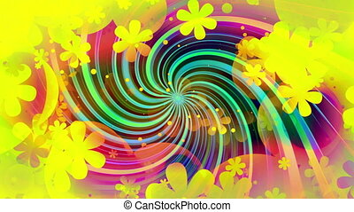 Bright colors new retro animated looping CG swirl background...
