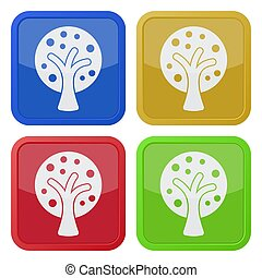 four square color icons, tree with branches