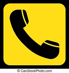 yellow, black sign - old telephone handset icon