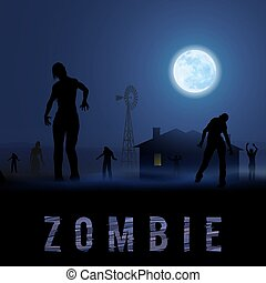 Zombie Poste - Zombie Walking out From Abandoned House at...