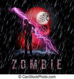 Zombie Poste - Halloween Background with Walking Zombie in a...