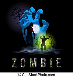 Zombie Poste - Zombie Walking Silhouettes out from Grave....
