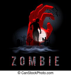 Zombie Poste - Zombie Walking out from Grave. Silhouettes...