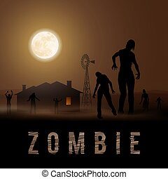 Zombie Poste - Zombie Walking out From House. Silhouettes...