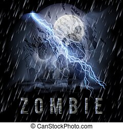 Zombie Poste - Halloween Background with Skull, Zombie in a...