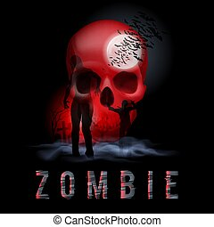 Zombie Poste - Halloween Background with Walking Zombie in...
