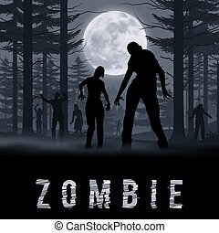 Zombie Poste - Zombie Walking out From Night Forest....