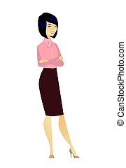 Asian confident business woman with folded arms.