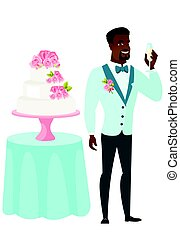 Groom standing near cake with glass of champagne. - Happy...