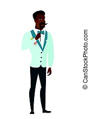 Cheerful groom with a fake mustache. - Young...