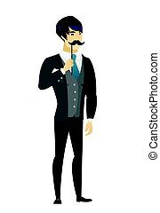 Cheerful groom with a fake mustache. - Young asian groom...