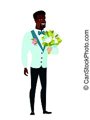 Young caucasian groom with a bridal bouquet. - Young...
