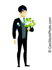 Young caucasian groom with a bridal bouquet. - Young asian...