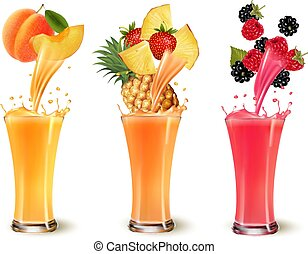 Set of fruit juice splash in a glass. Apricot, pineapple, strawberry, raspberry and blackberry. Vector
