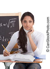 Indian college student woman studying math exam - High...
