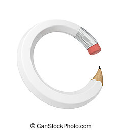 Bent pencil. 3d illustration isolated on white background