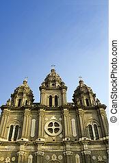 a church and the blue sky