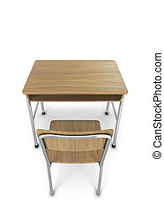 School desk with chair. 3d illustration isolated on white...
