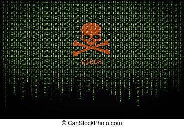 Red skull virus on binary computer code - Red skull virus on...